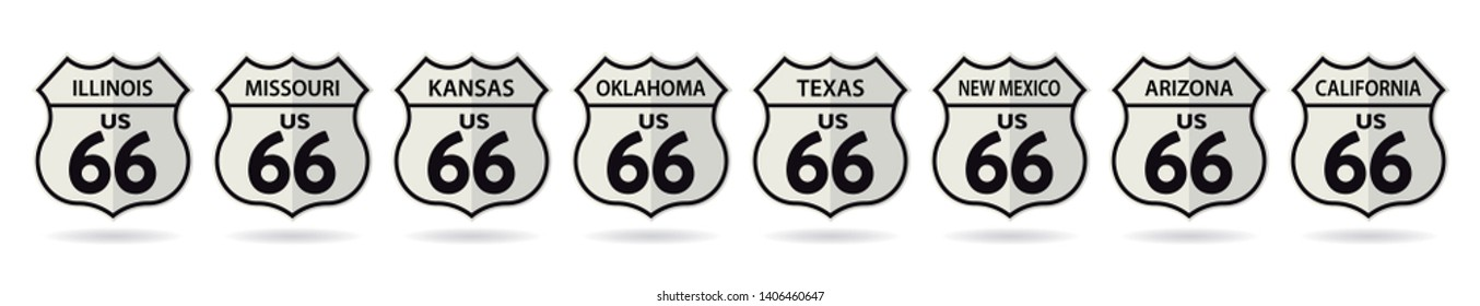 Shields of states crossed by Route 66 in the USA