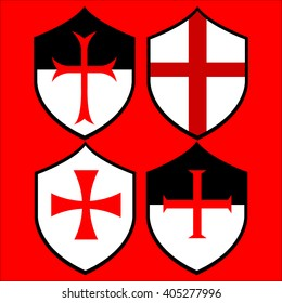 Shields of the Templar Knights. Crosses of the Templars. Vector illustration. Isolated on red.