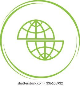 shift globe. Internet button. Vector icon.