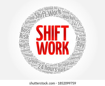 Shift Work word cloud collage, business concept background