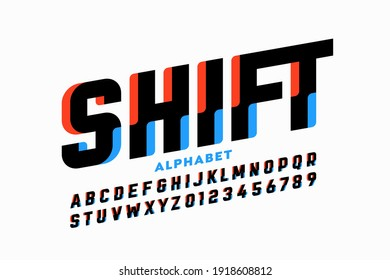 Shifted style font design, alphabet letters and numbers vector illustration
