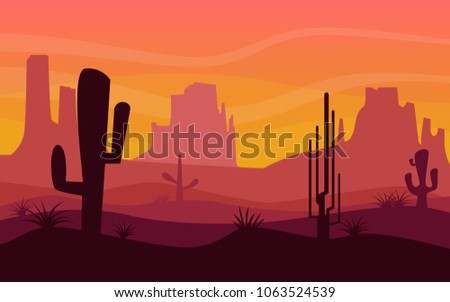 Shilluate Landscape View Of Dried Desert In Arizona With Big Rock Mountainsand Hill