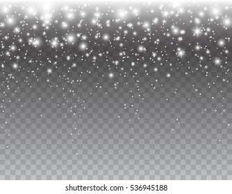 Shimmer light sparkles effect  isolated on transparent background. Vector white glowing Xmas snow with stars background for your merry Christmas, New Year party luxury card design.