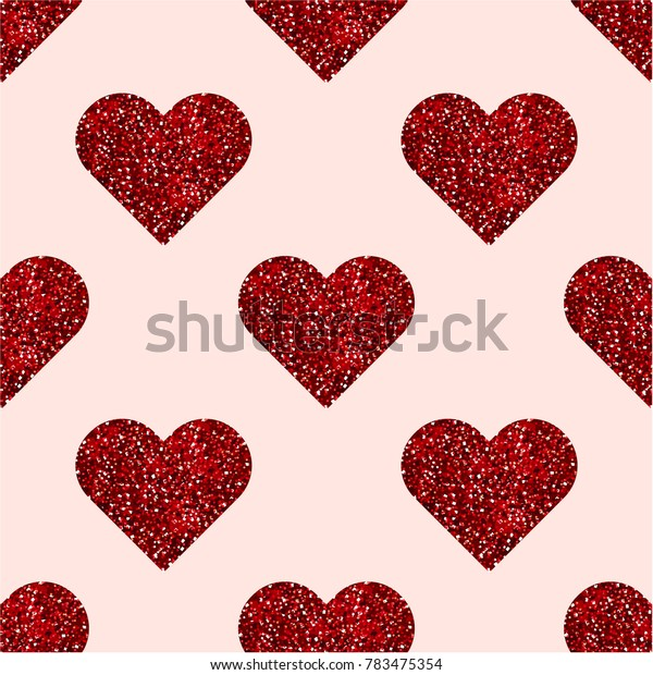 Shimmer Red Hearts. Vector seamless pattern.