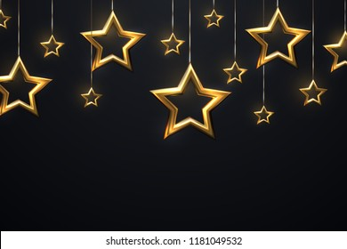 Shimmering hanging golden stars on black background. Vector 3d illustration of glowing Cristmas ornament. New Year cover or banner template. Holiday decoration.