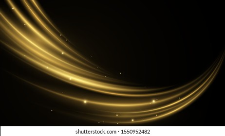 Shimmering waves with light effect isolated on black background. Glittering star dust trail. Vector abstract swirling wave. Golden neon liquid. Elegant bright linear wave. Vector background