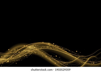 Shimmering waves with light effect isolated on black background. Glittering old dust trail. Abstract motion. Magic lines. Neon effect vector background
