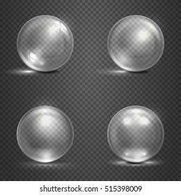 Shine 3D glass spheres, magic balls, crystal orbs vector. Set of glass transparency ball, illustration of glossy crystal ball