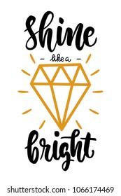shine bright like a diamond lettering badge