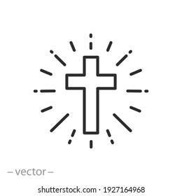 shine christian cross icon, concept catholic church, holy light ray, faith religion, easter, thin line symbol on white background - editable stroke vector