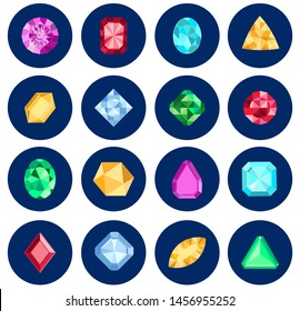 Shine colorful diamond icons set in blue curcles, illustration