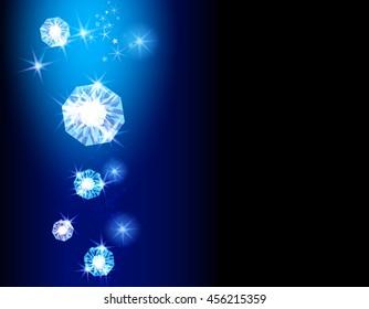 Shine diamonds background with blue lights.