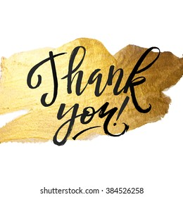 Shine Gold Foil Thank You Card. Calligraphy on White Background. Thank You Hand lettering handmade calligraphy