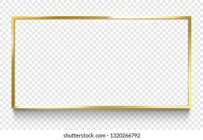 Shine golden frame. Gold rectangle with shadow, 18x9 frames borders ratio shiny photo frame and border golds design isolated vector illustration