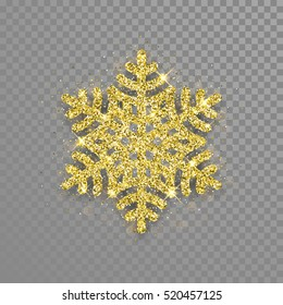 Shine golden snowflake covered with glitter on transparent background. Christmas decoration with shining sparkling light effect. Vector isolated icon. New Year golden glittering ornament.