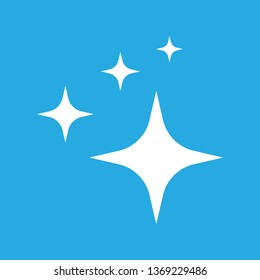 Shine icon,  Clean star icon. White icon on blue background.