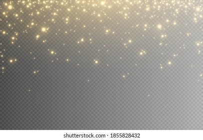 Shine. Light effect, golden light. Light from the sky. Lights, golden shine, sparkles. PNG picture. Christmas background, Christmas.