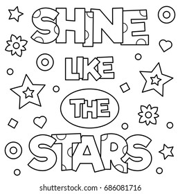Shine like the stars. Coloring page. Vector illustration.