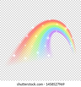 Shine rainbow vector isolated on transparent background. Illustration of rainbow colorful shine, nature light