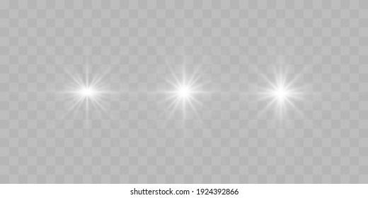 Shine star of the light vector on a transparent background. Light explodes, light effect design elements
