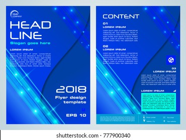 Shine vector flyer, corporate business, annual report, brochure design and cover presentation in blue color.