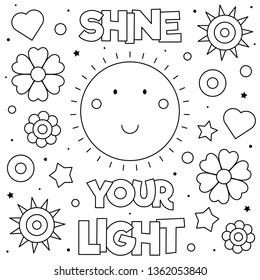 Shine your light. Coloring page. Vector illustration. Sun.