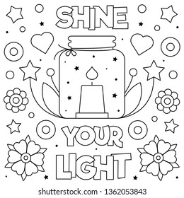 Shine your light. Coloring page. Vector illustration. Candle.