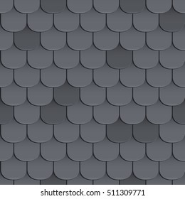 Shingles roof seamless pattern. Black color. Classic style. Vector illustration