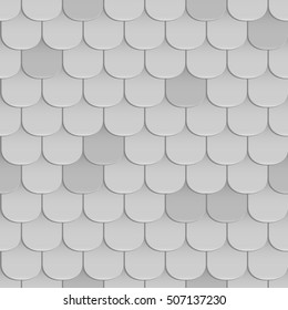 Shingles roof seamless pattern. Gray color. Classiic style. Vector illustration