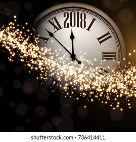 Shining 2018 New Year background with clock. Vector illustration.