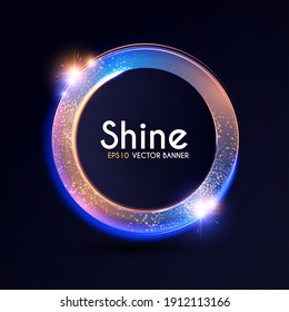 Shining banner with gold dust. Futuristic light effect.