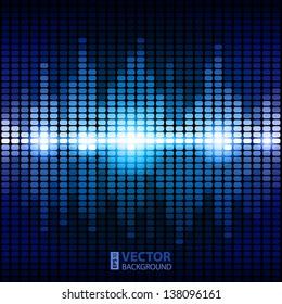 Shining blue digital equalizer background with flares. RGB EPS 10 vector illustration