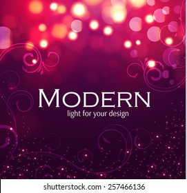 Shining blur bokeh background with swirls for your beauty design. Vector illustration