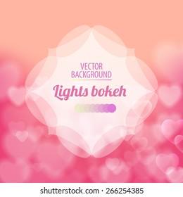 Shining bokeh effect hearts beige vector background