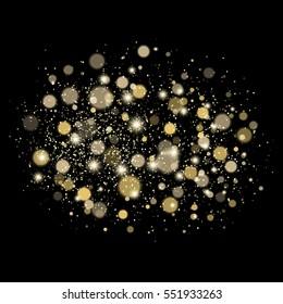 Shining bokeh illustration. Vector golden circle.