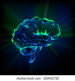 Shining brain on a dark background. Vector.