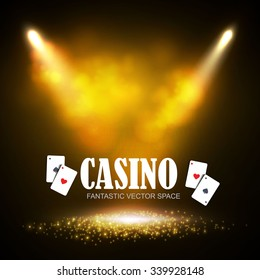 Shining Casino Banner. Show, Sale & Circus Retro Design. Vector illustration