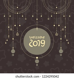 """Shining christmas decoration vector illustration. Holiday garland on black background with """"Welcome 2019"""" lettering. Template for greeting card and invitation."""