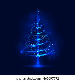 Shining christmas tree; the magic christmas tree; shinny christmas tree.Happy new year and merry christmas abstract background.Vector illustration