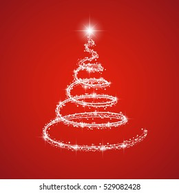 Shining christmas tree on red background. Vector.