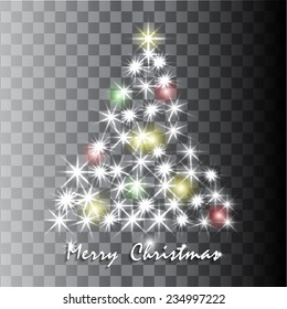 Shining Christmas tree in transparent background. Vector illustration