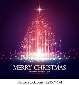 Shining Christmas tree. Vector illustration