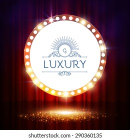 Shining circle banner on stage curtain. Vector illustration