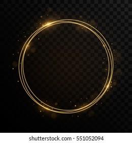 Shining circle golden frame. Isolated on black transparent background. Vector illustration, eps 10.