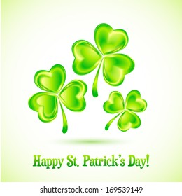 Shining clovers vector Patrick's day greeting card template