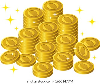 Shining coins written as O are stacked