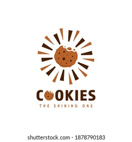 Shining crunchy bitten chocolate cookies cookie snack logo vector icon symbol in fun style