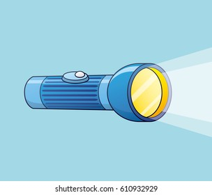 Shining flashlight.