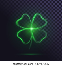 Shining four leaf clover flaming clover leaf, luck sign, saint Patrick day