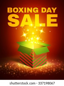 Shining Gift Box with Fireworks. Boxing Day Sale Poster. Vector illustration